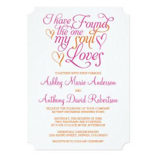Hot Pink Orange Soul Loves Heart Wedding Invitation