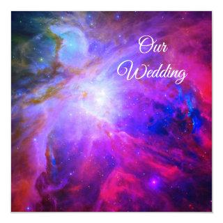 Hot Pink Sapphire Blue Orion Nebula Cosmic Wedding Invitations