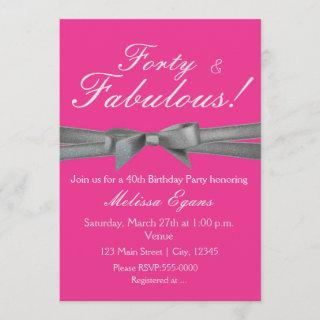 Hot Pink & Silver Bow Party Chic Event Invitations