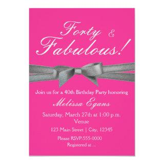 Hot Pink & Silver Bow Party Chic Event Invitation