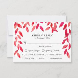 Hot Pink Vines and Foliage Wedding RSVP Cards