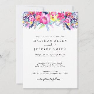 Hot Pink & Yellow Spring Floral Wedding Invitations