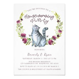 Housewarming Purr-ty Party Cat Theme Invitations