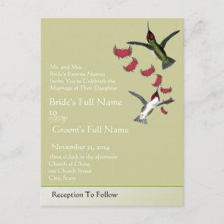 Humming Birds Grunge Hearts with Wings Invitations Postcard