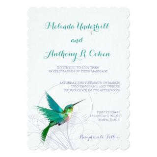 Hummingbird Swirl 5x7 Wedding Invitations
