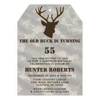 Hunting Buck Green Brown Camo Birthday Party Funny Invitations