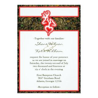 Hunting Camo Red Custom Outline Color Invite