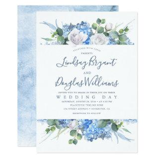 Hydrangea and Greenery Dusty Blue Floral Wedding Invitation