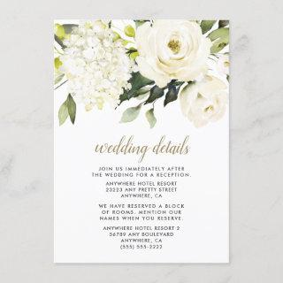 Hydrangea Elegant White Gold Rose Floral Wedding Enclosure Card