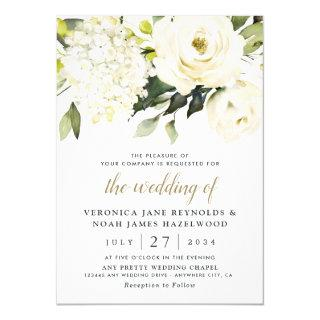 Hydrangea Elegant White Gold Rose Floral Wedding Invitations