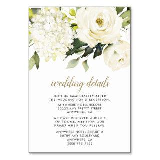Hydrangea White Gold Floral Wedding Enclosure Card