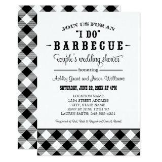 I Do BBQ Black Gingham Couple's Wedding Shower Invitations