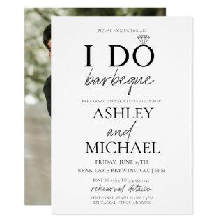 I DO BBQ Black & White Script Photo Rehearsal Invitations