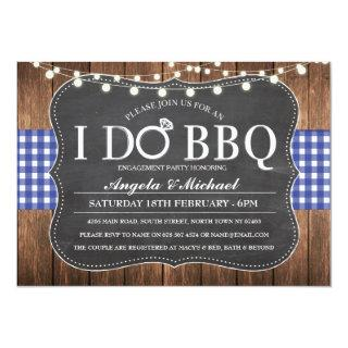 I DO BBQ Blue Navy Couples Shower Party Invite