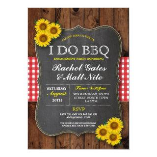 I DO BBQ Couples Shower Chalk Sunflower Red Invite