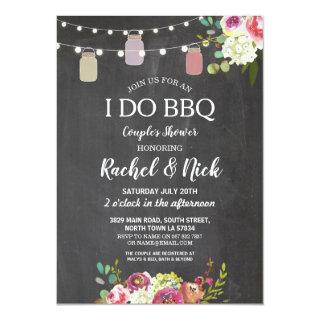 I DO BBQ Couples Shower Jars Lights Chalk Floral Invitation
