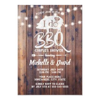 I DO BBQ Couples Shower Rustic String Lights Invitations