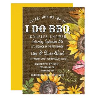 I Do BBQ Couples Shower Rustic Sunflowers Invitations
