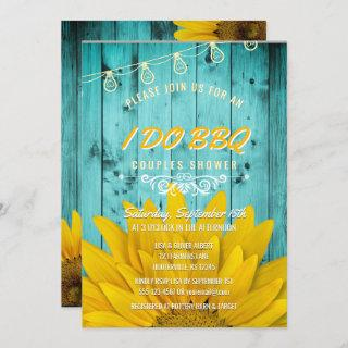 I Do BBQ Couples Shower Rustic Sunflowers Teal Invitations