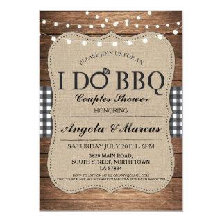 I DO BBQ Couples Showers Rustic Gingham Invite