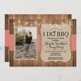I Do BBQ Engagement Party Photo Red Check Invite