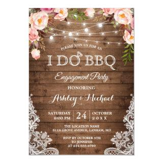 I DO BBQ Engagement Party Rustic Country Floral Invitations