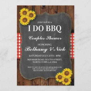 I DO BBQ Engagement Sunflower Rustic Red Invite