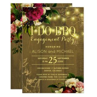 I do bbq gold lights wood floral engagement party invitation