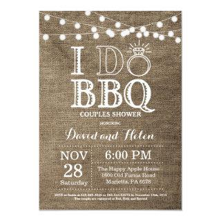 I DO BBQ Invitation Burlap Wedding Engagment