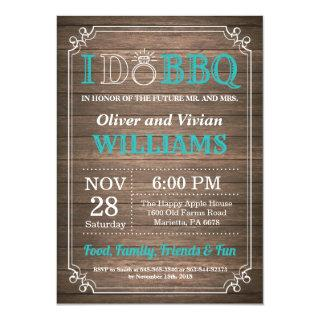 I DO BBQ Invitation Rustic Teal Wedding Engagment