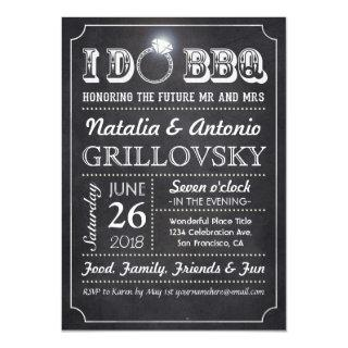 I DO BBQ Invitations | Chalkboard & Diamond Ring