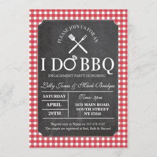 I DO BBQ Red Chalk Party Engagement Invitation