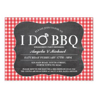 I DO BBQ Red Engagement Couples Shower Invitations