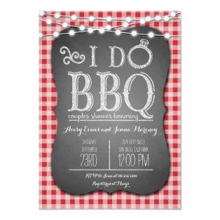 I Do BBQ Red Gingham Couples Shower in Chalk Invitation