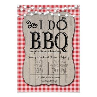 I Do BBQ Red Gingham Couples Shower in Wood Invitations