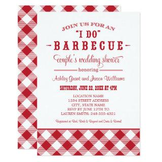 I Do BBQ Red Gingham Couple's Wedding Shower Invitations
