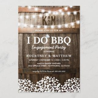 I DO BBQ Rustic Engagement Party Babys Breath Invitation