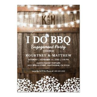 I DO BBQ Rustic Engagement Party Babys Breath Invitations