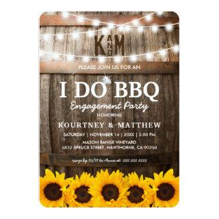 I DO BBQ Rustic Engagement Party Sunflower Invitation