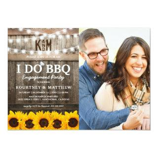 I DO BBQ Rustic Sunflower Photo Engagement Party Invitation