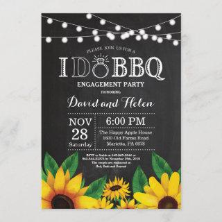 I DO BBQ Sunflower Engagement Party Chalkboard Invitations
