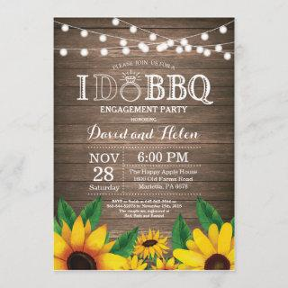I DO BBQ Sunflower Engagement Party Rustic Invite