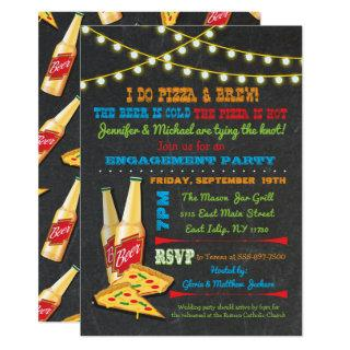 I do Pizza and Brew Engagement Party invitations