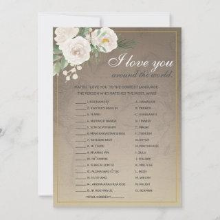 I Love You Foreign Words Bridal Shower Game Invitations
