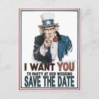 Iconic Vintage Uncle Sam Save The Date Announcement Postcard