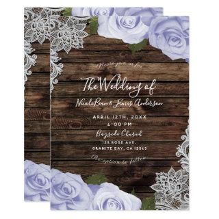 Icy Purple Floral Roses Rustic Wood & Lace Wedding Invitation