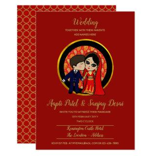 Indian Fusion Wedding Western Groom Cute Cartoon Invitation