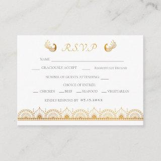 Indian Gold Ethnic Pattern Wedding RSVP Card