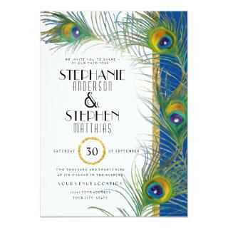 Indian Peacock Feathers Modern Gold Typography Invitation