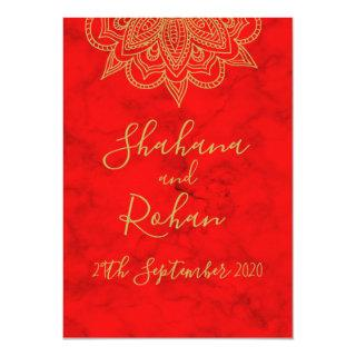 Indian Style Red Gold Colored Modern Chic Wedding Invitations